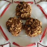 image of three banana oat cookies on a plate