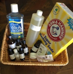 image of essential oils and cleaning ingredients for green cleaning