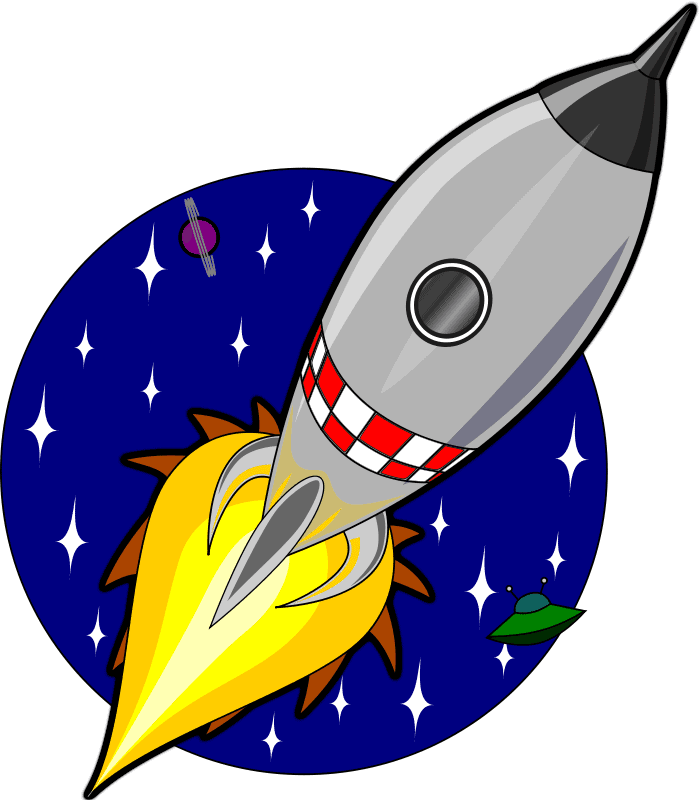 cartoon image of a rocket in space