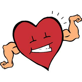 cartoon image of a smiling heart with muscular arms