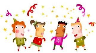 cartoon image of four kids dancing