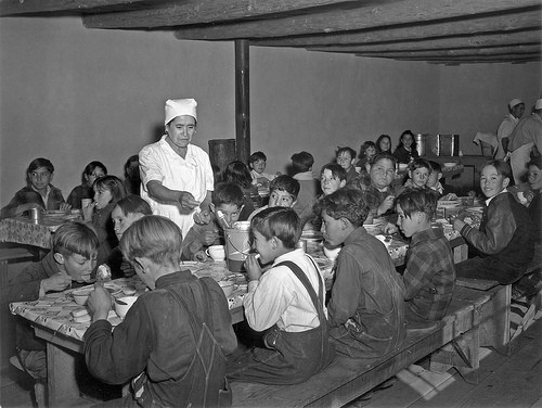 1941 image of school children being served hot lunch