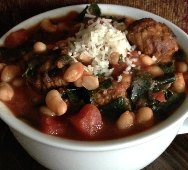 White Beans and Kale with Vegetarian Meatballs