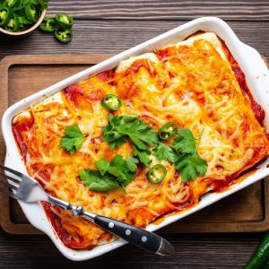 pan of spinach enchiladas