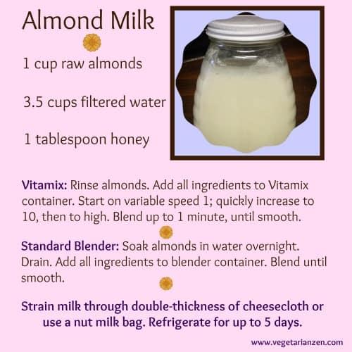 Almond Milk Recipe www.vegetarianzen.com