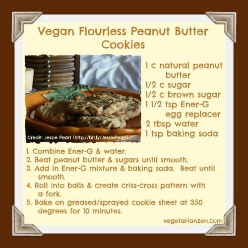 Vegan Flourless Peanut Butter Cookies - www.vegetarianzen.com