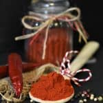 spoon of seasoning with a chili and jar