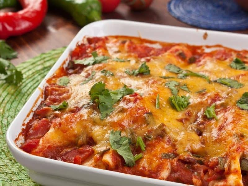 pan of vegetable enchiladas