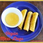 Vegan Mexi-dogs with vegan cheese sauce https://www.vegetarianzen.com