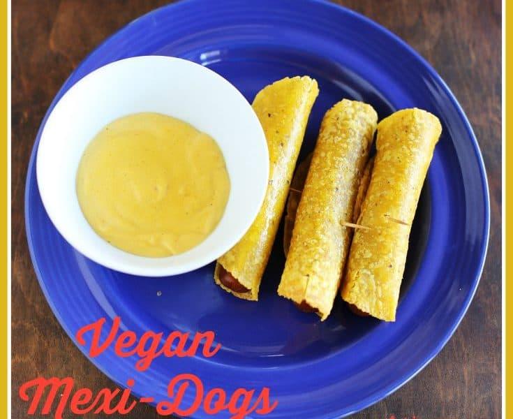 Vegan Mexi-dogs with vegan cheese sauce https://www.vegetarianzen.com