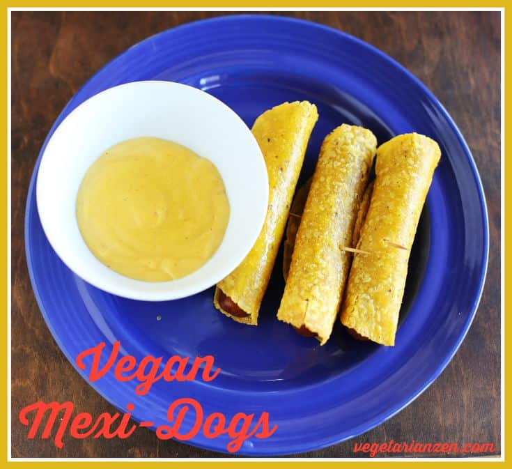 Vegan Mexi-dogs with vegan cheese sauce http://www.vegetarianzen.com