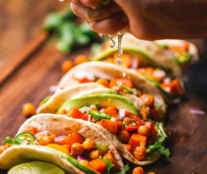 row of tacos