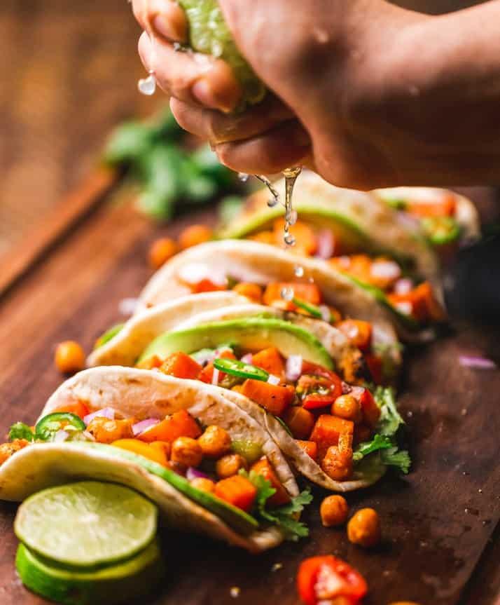 row of vegan tacos