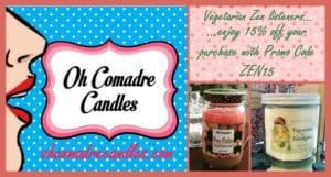 Oh Comadre Candles 15% off - http://www.vegetarianzen.com