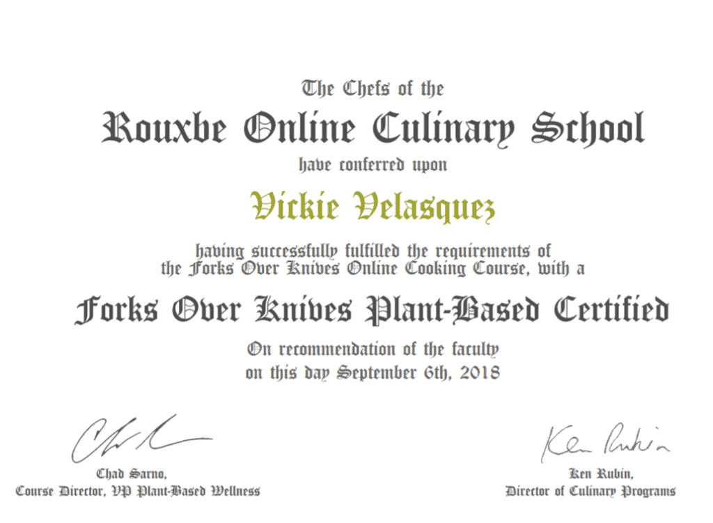 forks over knives cooking course certificate