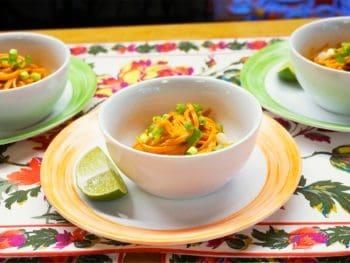 bowl of peanut y carrot noodles