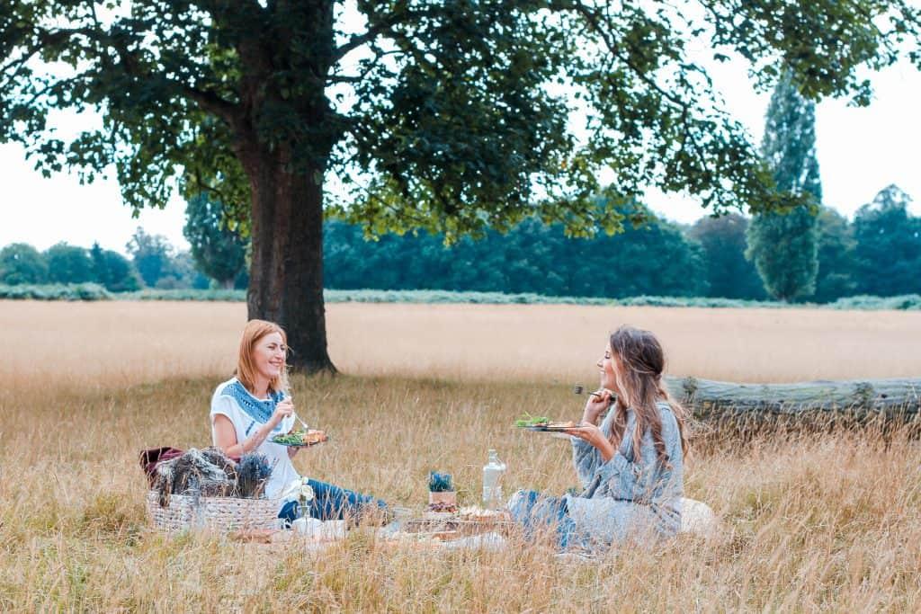 two women picnicing