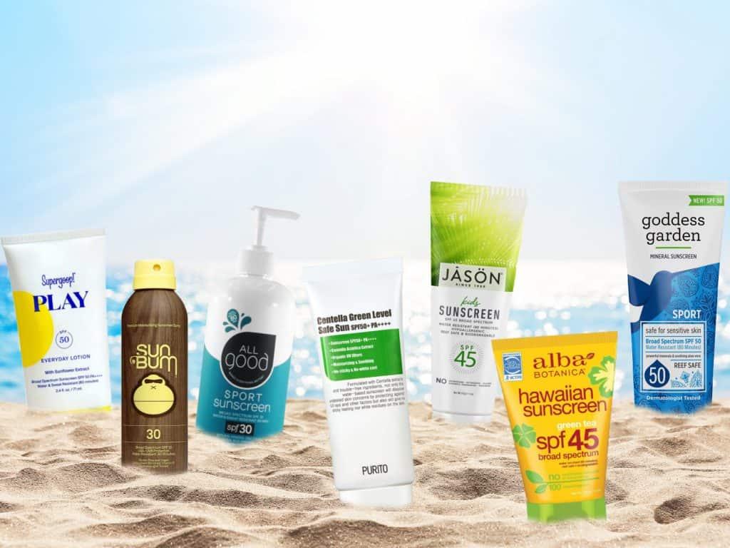 lineup of cruelty-free sunscreen bottles