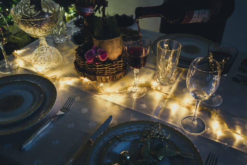 place setting for vegetarian christmas dinner