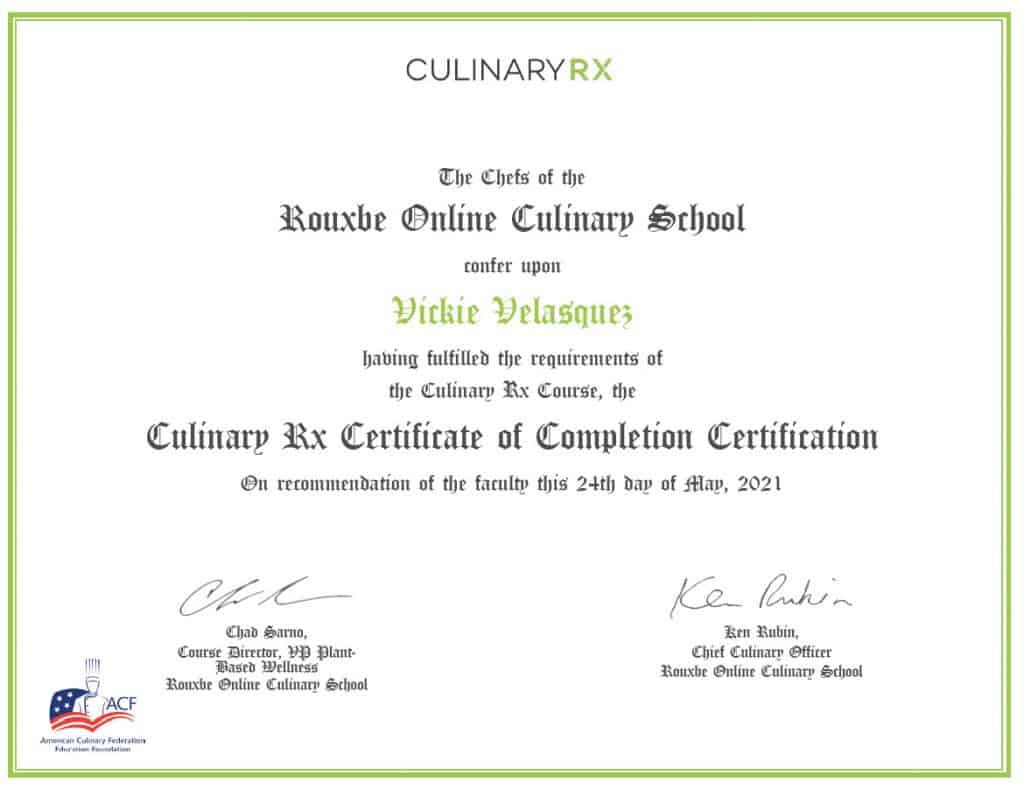 culinary rx certificate of graduation
