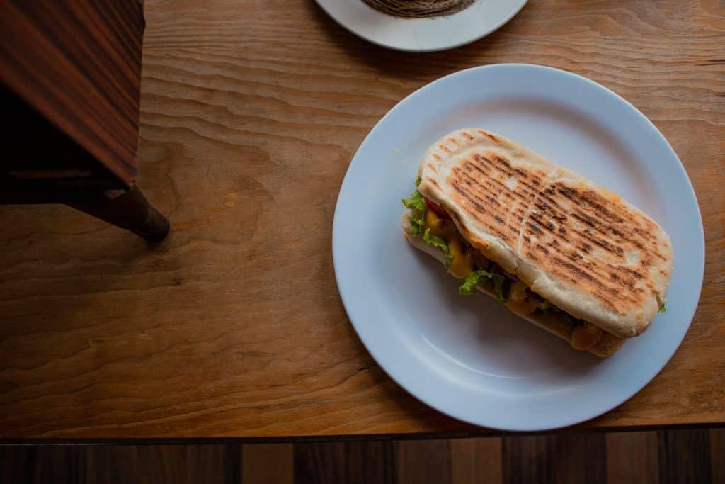 vegetarian sandwich white ceramic plate