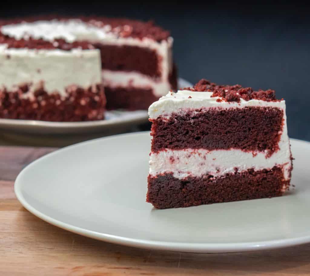 sliced cake from vegan cake mix on white ceramic plate