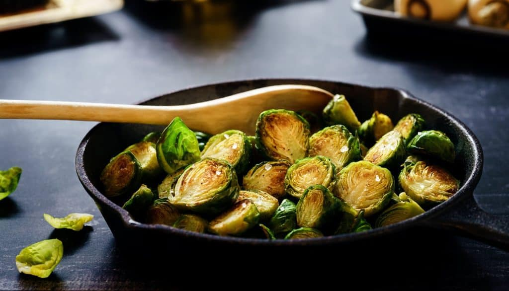Brussel sprouts in a pan is an example of how to cook without oil