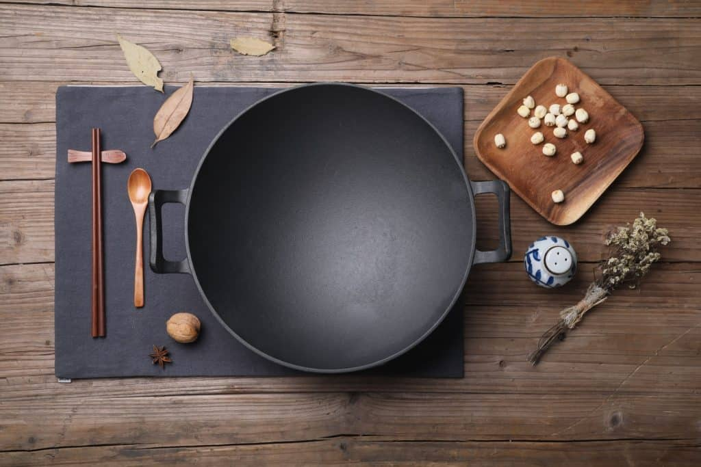 wok for cooking with a wok