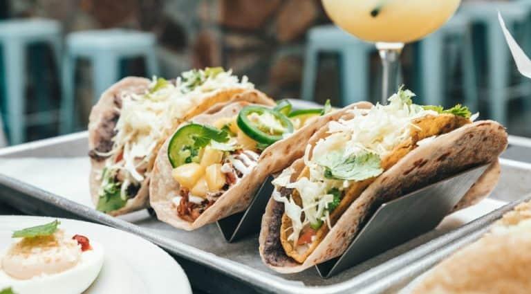 3 jackfruit vegan tacos on a plate